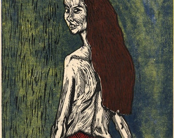 Hand-Pulled Woodcut Red Flirt #3