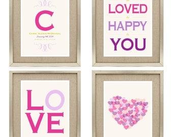 Nursery Wall Art - Love & Heart - Digital Printable Personalized Nursery Art Print - Birth Announcement Wall Art - Newborn Birth Stats Print