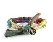 Silk Ribbon Bracelet, Bohemian Bracelet, Om Jewelry, Namaste Bracelet,  Handmade Jewelry, Yoga Jewelry, Ooak, Hemp, Gift For Her, Christmas