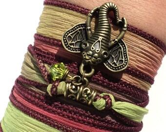 Bohemian Silk Wrap Bracelet Ganesha Yoga Jewelry Sacred Elephant Unique Stocking Stuffer Arm Band Gift For Her Under 50 Item K70