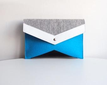 Gray Blue White Black Felt Leather Clutch Bag
