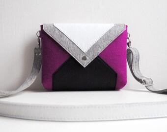 Purple Gray White Black Wool Felt Genuine Leather Messenger Crossbody Bag