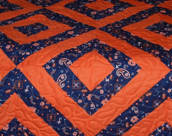 Twin Size Custom Made to Order Collegiate Quilt, Stadium Blanket, Man Cave, Dorm Blanket, Couch Throw - you choose school and colors