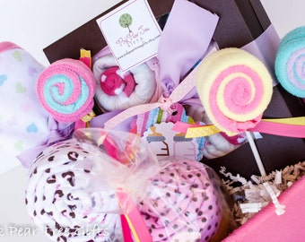 TICKLED PINK Baby Shower Gift Basket, Baby Gift Basket (Baby Girl or Baby Boy)