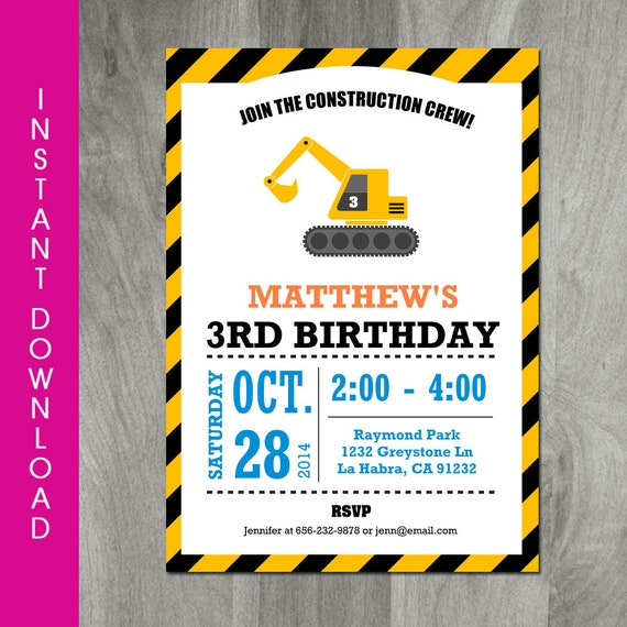 Construction Birthday Invitation Self By CharliesPrintables