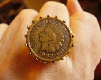 Antique 1902 Indian Head Penny Gold Metal Ring