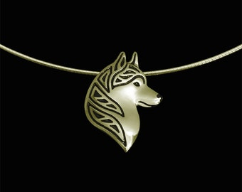 Siberian Husky profile - gold with black enamel and round omega chain.
