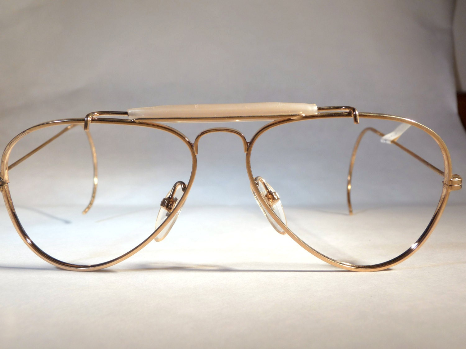 Glasses Frames Italian : Italian Eyeglasses 1980s golden metal aviators frames
