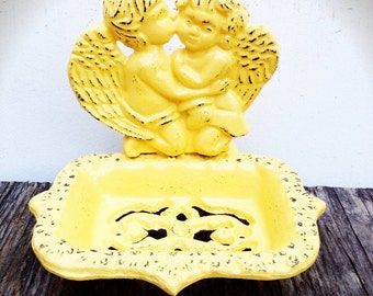BOLD golden yellow kissing cherubs business CARD HOLDER soap dish // ornate angels // bathroom office decor // cottage shabby chic