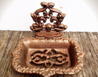 BOLD shimmering metallic copper business CARD HOLDER soap dish // ornate floral // bathroom office decor // victorian cottage shabby chic