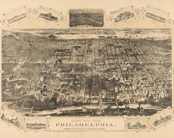 Philadelphia Pennsylvania 1876 Bird's Eye View Panoramic Map Digitally Remastered Poster Digital Download
