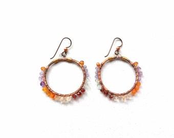 Gemstone Hoop Earrings Wire Wrapped Semiprecious Gemstones Copper Brass Red Garnet Yellow Citrine Purple Amethyst Santa Fe Tami Lopez Design