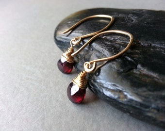 Red Gold Earrings Scarlet Red Garnet Semiprecious Gemstone Gold-Filled Elegant Dangle Modern Minimalist Classic Wire Wrapped Briolette Drops