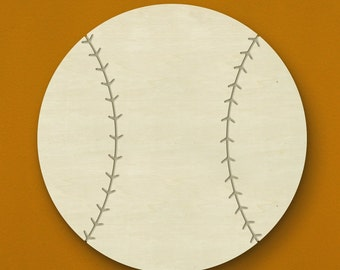 "14"" Baseball Wooden Wall or Door Hanging - Unfinished Wood - Great for a child's room! Can be painted or stained!"
