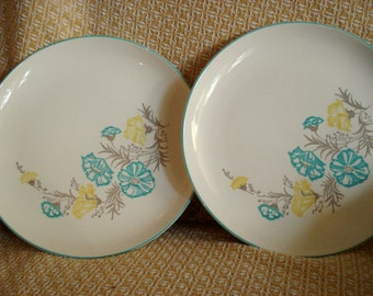 Vintage Wedding Retro Dinner Plates Stetson Blue and Yellow Floral Mid Century Modern Retro Set of 2 Vintage Bridal