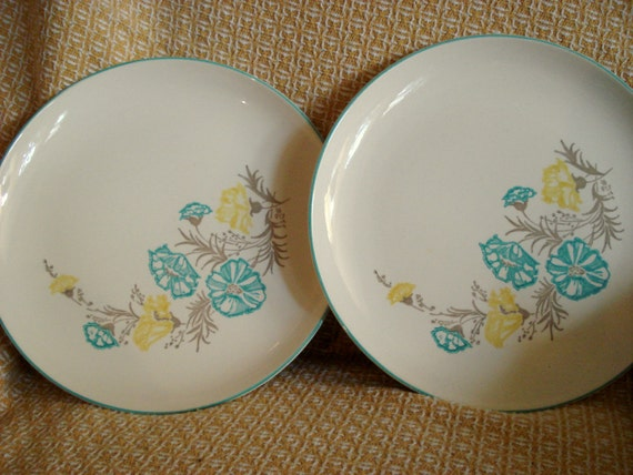 Vintage Wedding Retro Dinner Plates Stetson Blue And Yellow