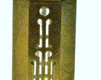 DECO 1920s LORIGAN by COTY Paris Brass Encased Glass Miniature Perfume Bottle..Yellow Galaith Cap & Base..Nouveau Rare