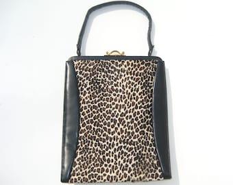 1950s leopard handbag - pony dyed to resemble leopard - 1950s purse - 1950s leopard purse - 1950s leopard bag - 1950s vintage handbag