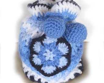 Bag. Small crochet drawstring granny bag in shades of blue- ideal gift bag