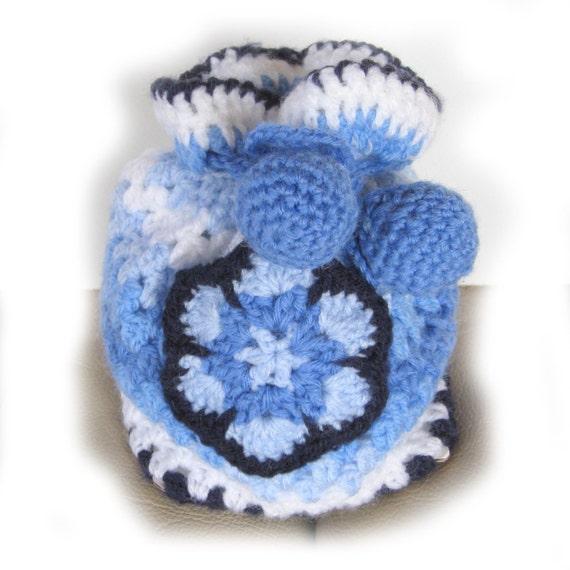 Bag. Small crochet drawstring granny bag in shades of blue- ideal gift bag