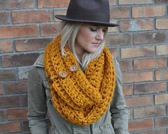 SALE Chunky Crochet Scarf Mustard Infinity Cowl