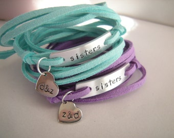 Sisters bracelets, Set of 2 personalized bracelets, gift for sister, faux suede cord wrap bracelet, stamped heart charm, initials stamped