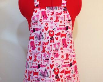 Kids Apron - Puppy Love Valentine's Childrens Apron - Childs Apron - Kitchen Accessory