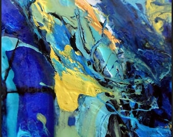 Abstract Giclee Canvas Print | Epoxy Resin Coat | Hand-Embellished Print | Large Canvas Print | Resin Art | Large Abstract Wall Art