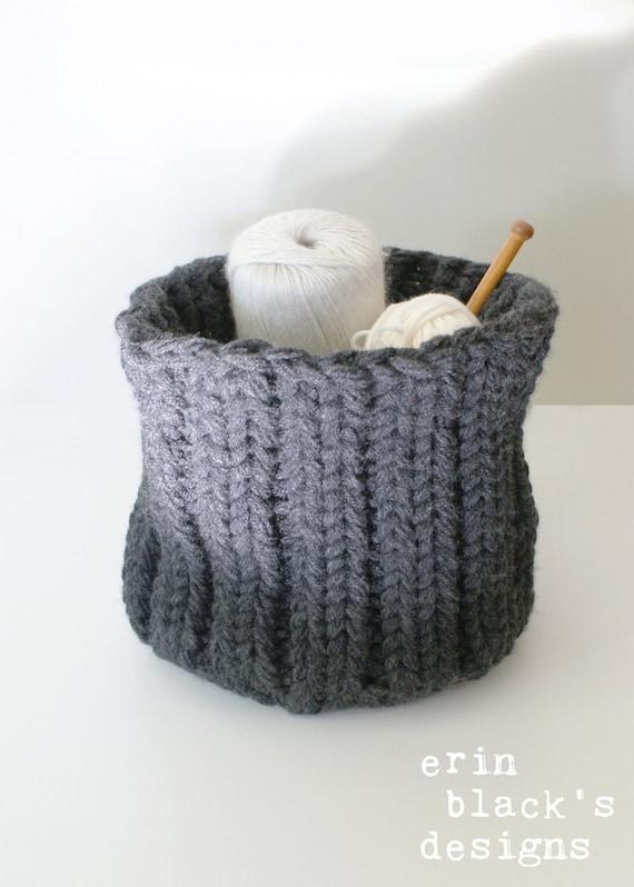 DIY Knitting PATTERN Chunky Knit Baskets 3 styles approx