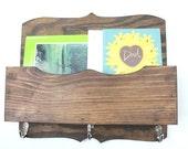 Mail Organizer magizine key hooks mail holder wood distressed vintage home decor painted Mahogany Stain