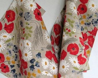 Linen Cotton Kitchen Towels Daisies Poppies Cornflowers Flowers Tea Towels set of 2