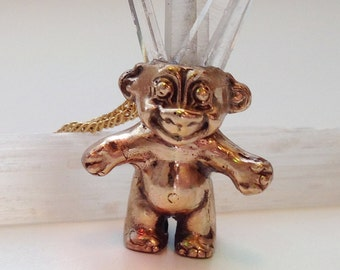 Troll with crystal hair necklace