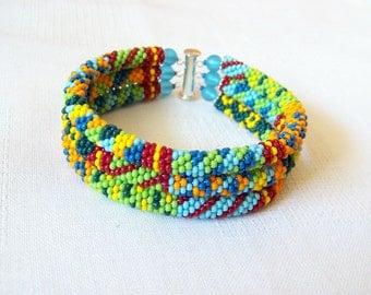 3 Strand Colorful  Multicolor Bead Crochet Bracelet - Bright Geometrics - summer bracelet - summer fashion bracelet