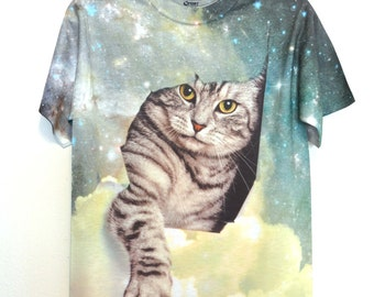 Cat from the Galaxy print T-Shirt -148