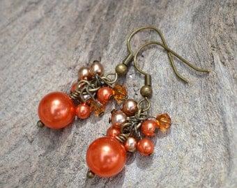 Orange Earrings, Glass Pearl Cluster Earrings, Vintage Style Earrings, Swarovski Crystals, Burnt Orange Jewelry, Orange Wedding Jewelry