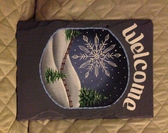 Handpainted Personalized Winter Snowflake  Snow Hillside Slate Welcome Sign