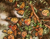 Monarch Butterflies Original Watercolor Painting, Butterfly Painting, Original Artwork, 15x22 inches, by Heather Torres Art