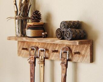 "Rustic key hooks with 6 pegs, reclaimed wall hooks, 24"" x 4"" x 4"", barn wood jewelry rack"