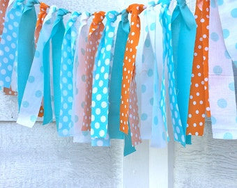Fabric Garland - Orange and Aqua - Rag Tie Garland - Surf Party - Boys Birthday - Event Decor - Nursery Decor