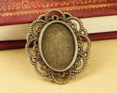 15pcs 25x30-13x18mm Antique Bronze Flower Oval Base Setting Cameo Cabochon Jewelry Supplies Charm Pendants Findings A3374