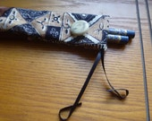 drawstring chopstick bag, geometric and floral patterned fabric with satin ribbon trim