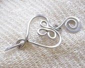Large, Celtic, Heart, Penannular Brooch, Aluminum, Shawl Pin, Scarf Pin, Sweater Clip, Women, Hair Pin, Knitting Accessories, Silver Toned