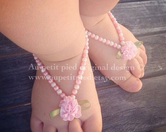 Baby Barefoot sandals, baptism gift, christening, baby shower gift, baby girl gift, photo prop,baptism shoes,baby foot jewelry