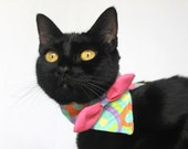 Fun Cat Collar Disco Fabric Accessory with Bow Tie