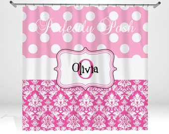 Personalized Pink Shower Curtain