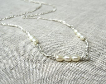 Nine-Pearl Necklace - Classic Pearl Necklace - Sterling Silver - Bridal Jewelry - Simple Minimalist - Traditional and Modern