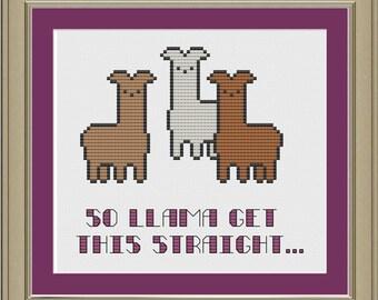 So llama get this straight --- funny llama cross-stitch pattern