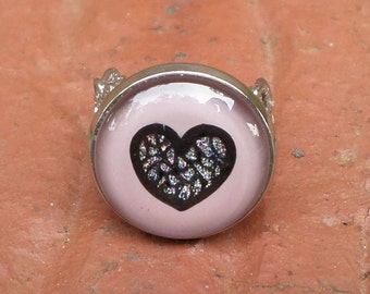 Nail Polish Ring with Adjustable Filigree Band, featuring a Diamond Heart on Essie's Demure Vixen