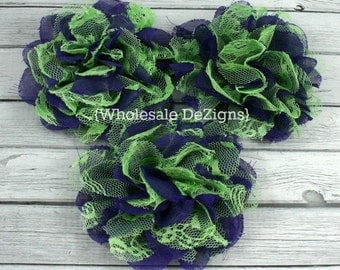 """Clearance Purple and Green Chiffon and Lace Flower - 4"""" Full and Fluffy - 4 inches Halloween Flower"""