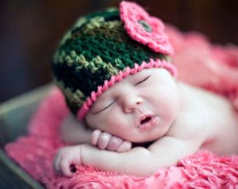 BABY GIRL CAMO, Camouflage Crochet, Camo Baby Hat, Baby Girl Army, Military Knit Baby Camo Hat, Crochet Newborn Camo Beanie